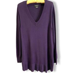 MICHEL STUDIO Purple Tunic Sweater w/Ruffle Hem 1X